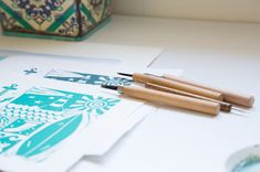 turquoise linocut and carving tools
