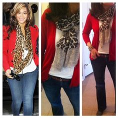 leopard scarf with a red cardigan and trouser jeans