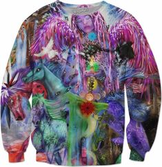 Colorful Angel Seraphim Elohim Psychedelic Trippy New age Visionary Art all over print sweater