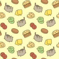 Cute Pusheen background. Really warm colours. Burger