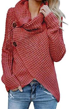 00352431b8 Inorin Womens Sweaters Casual Cowl Neck Chunky Cable Knit Wrap Pullover  Sweater Cozy Sweaters