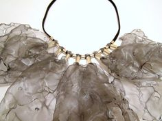 WHEN I MET YOU-Silver Fabric Leather Necklace от catrinel777