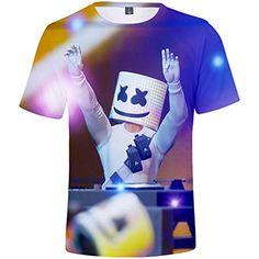 b1884b1b3 FLYCHEN Camiseta para Niños 3D Impresión Gráfica Marshmello DJ Música  Electrónica EDM Cool Hip Hop Boys