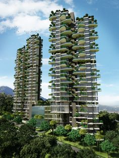 The Mines Condo, Kuala Lumpur. Innovative use of vertical garden concept is integrated into the building design both as functional element and elevation treatment aesthetics...