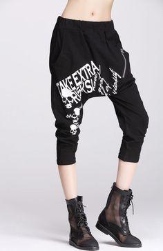 Punk Visual KEI Goth 22906 Irregular Slim 3 4 Black Pants | eBay
