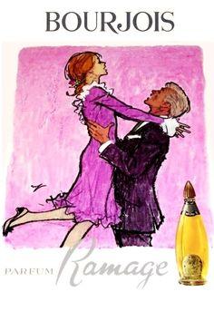 BOURJOIS Ramage -HOF Elegant Couple, Bourjois, Young Couples, Vintage Ads, Illustrations, Paris, Movie Posters, Montmartre Paris, Stylish Couple