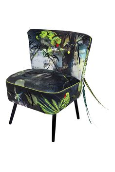 Jacky Puzey Embroidery - Parakeets Cocktail Chair - Jacky Puzey Dandy Parakeets Cocktail Chair
