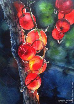 Red currant - ярко-красный,красная смоородина,ягода,свет,акварель,акварельная бумага