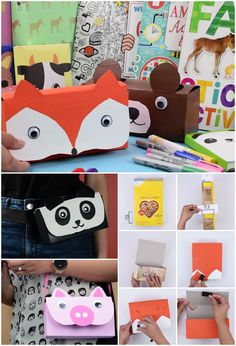How to make animal pencil cases out of an empty cereal box. Click on the image to see the written instructions!      #craft #diy #crafty #art #artsy #hack #kids #moms #parents #children #school #fun #babyfirst