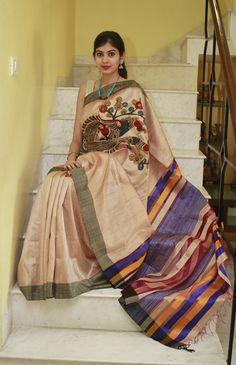 cee7eb5fa1c0f 15 Fascinating Hand-painted Kalamkari Silk sarees images