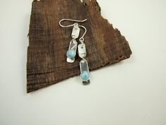 Sterling Silver and Pale Blue Larimar Twisted Dangle Earrings £28.00