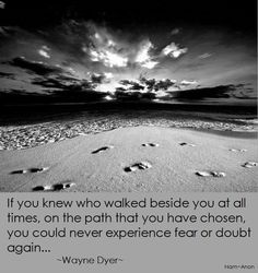 If you knew who walked beside you at all times, you could never experience fear or doubt again ~ Wayne Dyer