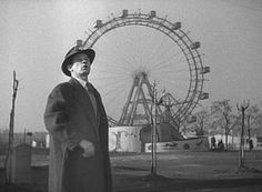 Joseph Cotten in Vienna's Prater Gardens, a scene from the film adaptation of Graham Greene's THE THIRD MAN. Carol Reed, Film Class, Joseph Cotten, Like This Song, Graham Greene, Still Frame, The Third Man, English Book, Man Movies