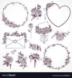 Illustration about Set of floral design elements. Illustration of continuous, heart, floral - 124788491 Embroidery Flowers Pattern, Silk Ribbon Embroidery, Hand Embroidery Designs, Flower Patterns, Bullet Journal Art, Bullet Journal Ideas Pages, Bullet Journal Inspiration, Illustration Vector, Illustrations
