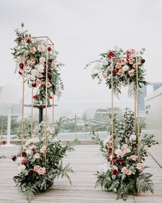 Grey skies, no matter. My bride didn't want a backdrop that covers the city's beautiful skyline. So we went with a floral tower… Farm Wedding, Rustic Wedding, Wedding Colors, Wedding Flowers, Square Columns, Wedding Altars, Floral Arch, Grey Skies, Wedding Planner
