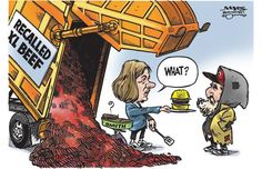 Danielle Smith feeding recalled XL beef to the homeless (Malcolm Mayes/Edmonton Journal) | #ABpoli