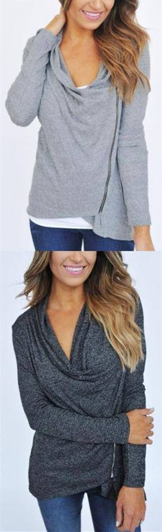 Loose Cowl Neck Zipper Long Sleeve Pullover Tops