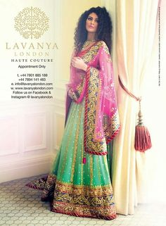 Green Embroidered #Lehenga With Pink Dupatta