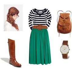 kelly green skirt + striped sweater + brown belt + brown boots = cute outfit