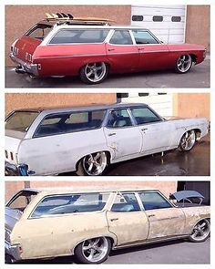 Before, During, & After : 1969 Chevrolet Impala wagon Station Wagon, Wagon Trails, Wagon Cars, Shooting Brake, Chevrolet Suburban, Us Cars, Chevrolet Impala, Kustom, Buick