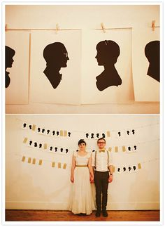 This couple had an artist free-handing guests' silhouettes at the wedding for a very unique guestbook idea.