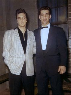 """Elvis and Arni May - April 3, 1957 Photo/DJ Fontana ctsy/ Arni May and R Robinson. I wasn't a big Elvis fan,"""" said May. """"I only knew him from Dorsey and  Sullivan Shows."""" Spent day of the concerts with Elvis in his dressing room /described  the singer as down to earth/religious. """"Elvis was an exceptional family person and he took a lot of time talking to me and asking me questions about jazz music and  my musical influences,"""" said May. """"Said he loved gospel music/blues."""