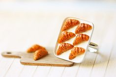 Miniature Food Jewelry - Butter Croissants on Tray Ring!