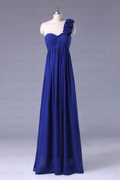 New Arrival A-line One-shoulder Floor-length Sleeveless Chiffon Prom Dress Bridesmaid Dress Formal Evening Dress Party Dreses With Flowers