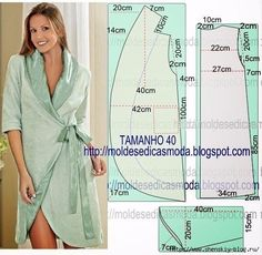 pattern for sewing a robe Sewing Patterns Free, Free Sewing, Sewing Tutorials, Clothing Patterns, Dress Patterns, Gown Pattern, Pattern Sewing, Lingerie Couture, Sewing Lingerie