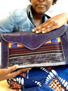Pochette/besace en tissage ethnique haoussa fait main par Halynta