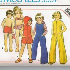 A Front Zip Jumpsuit with Optional Hood, and 2-Piece Swimsuit Pattern for Children