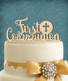 Look at this #zulilyfind! 'First Communion' Wooden Cake topper #zulilyfinds