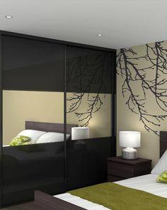 Classic 32mm steel black glass doors with mirror split panels & black frame sliding wardrobe doors