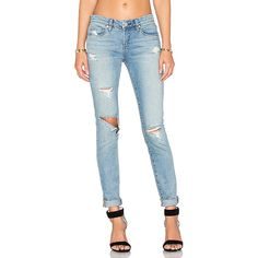 BLANKNYC Distressed Skinny ($90) ❤ liked on Polyvore featuring jeans, skinny leg jeans, ripped jeans, faded blue jeans, destroyed jeans and super skinny jeans