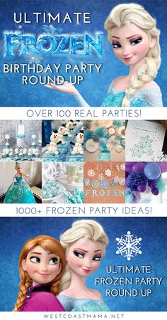 Ultimate Frozen Birthday Party Round-Up – West Coast Mama Slumber Party Games, Carnival Birthday Parties, Frozen Birthday Party, Frozen Party, Birthday Party Themes, Frozen Frozen, Disney Frozen, Frozen Themed Food, Turtle Birthday