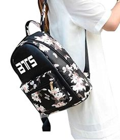 Women Girl's Flower Floral Kpop BTS BANGTAN BOYS Waterproof Travel Backpack School Book Bag Shoulder Bag for College Students | Everything Korea