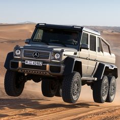 Meet the street-legal G63 AMG 6x6. The 5.5L twin-turbo V8 sends 536 hp and and 560 lb-ft of torque to G's six wheels allowing you to have total on and off-road domination.