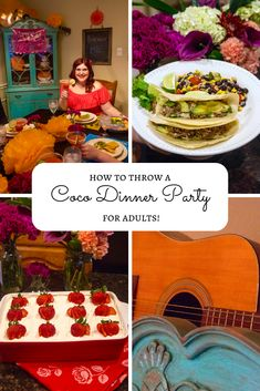 Disney fans, learn how to host your very own Coco themed dinner party for adults, recipes and all! Adult Disney Party, Disney Themed Food, Disney Inspired Food, Disney Dinner, Disney Diy, Disney Food, Dinner Themes, Themed Dinner Parties, Food Themes