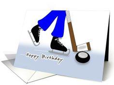 Birthday Hockey Themed Greeting Card-Hockey Stick & Puck Sports card