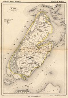 kuyperkaart of gemeentekaart Gemeente Texel van Kuyper (Kuijper) () 1866 Old Maps, Vintage Maps, Topographic Map, Historical Maps, Netherlands, About Me Blog, Holland, Languages, Earth