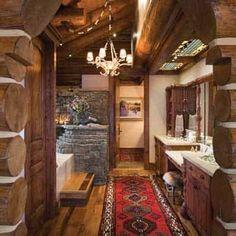 Handcrafted Western Rusic Log Cabin Bathroom