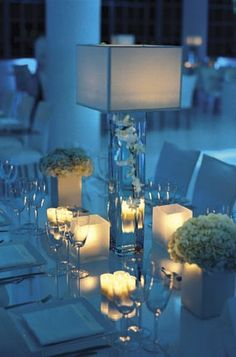 Blue and white wedding table ideas wedding trends enticing. Blue Wedding Receptions, Wedding Reception Lighting, Wedding Table, Decoration Table, Table Centerpieces, Wedding Centerpieces, Wedding Decorations, Modern Centerpieces, Centerpiece Ideas
