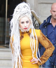 Lady Gaga tried out a Rastafarian style with long white dreadlocks piled on top of her head for a recent outing in London.