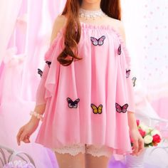 Sweet Falbala Butterfly Condole Belt Loose Chiffon dress