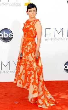 Ginnifer Goodwin in orange. Perfection. Love the hair, love the dress. #Emmy