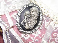 SUGAR SKULL Morbid Bride Goth Steampunk Rockabilly Necklace Pendant / btooch combo Cameo
