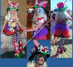Homemade Alice in Wonderland Costume: This is what you need for this Alice in Wonderland Costume :  •Hot Glue •White, Green, Black, Red, Bright Pink, and Bright Purple Felt Material •Pink