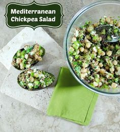 This healthy Mediterranean chickpea chopped salad recipe is packed with protein and fiber, and healthy fats.