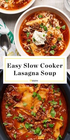 This slow cooker lasagna soup is everything you love about the classic Italian noodle dish in soup form. It includes ground beef your favorite jar of marinara (to make things easier for weeknights!) Parmesan cheese Italian seasoning and lasagna noodles. Slow Cooker Lasagna, Slow Cooker Soup, Slow Cooker Recipes, Soup Recipes, Cooking Recipes, Healthy Recipes, Crockpot Lasagna Soup, Crockpot Meals, Breakfast Crockpot