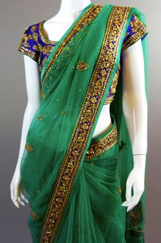 Emerald Green Purple Net Saree